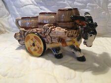 Vtg Victoria Ceramic Donkey Cart W/Salt~Pepper~Cream & Sugar~Made Japan