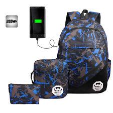3pcs Teen School Backpack Travel  Rucksack Satchel Bag Handbag w/USB Port