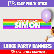 Rainbow Personalised Birthday Party Banner Pride (110cm Wide) + Design Service