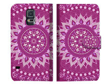 Purple AZTEC TRIBAL Wallet Case Cover For Samsung Galaxy S5 - A003
