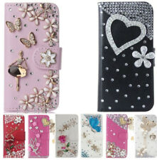 Leather Wallet Case Bling Crystal Rhinestone Card Flip Cover For LG Phones strap