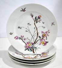 "Four Matching Hand painted Cherry Blossom Plates 9.5"" Beautiful design Antique"