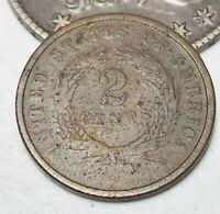 1864 US Two Cent Piece 2C Ungraded Civil War Era Worn Date US Copper Coin CC2564