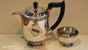 Very Clean Superb Antique Vintage Art Deco Viners Silver Plated 2PC Teapot bowl