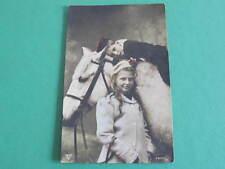 Children with Horses Head Tinted Studio Postcard