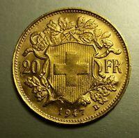 20 Francs Gold coin Switzerland Swiss Vreneli 1947 MINT - No reserve - AGW