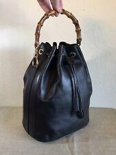 Gucci Black Leather Bamboo Handbag Vintage GG Satchel Tote Bag *Sticky Interior