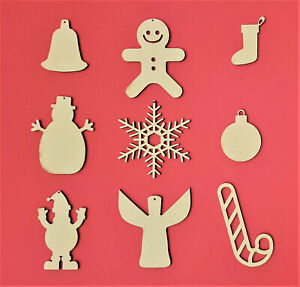 Wooden Christmas Tree Hanging Decorations DIY Hangers Pendants Xmas Gifts Bauble