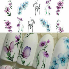 3Sheets Flower Butterfly Nail Art Water Transfer Decals Purple Stickers DIY Tips