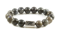Labradorite gemstone bracelet large 12mm sterling silver bead custom made