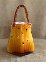 "Murano Glass Purse Vase Hand Blown 14"" high Art amber gold Bag Handbag"