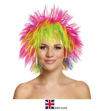 RAINBOW PUNK WIG Pride Fancy Dress Party Clown Funky Disco Afro Hair Costume UK