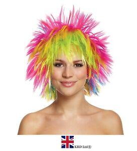 RAINBOW PUNK WIG Pride Fancy Dress Party Clown Funky Disco Afro Hair Costume UK