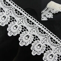 2 Yards DIY Off White Floral Polyester Lace Applique Sewing Trim Crafts Trimming