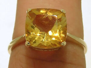 R224 Genuine 9ct 9K Solid Gold Natural Golden Citrine Cushion Solitaire Ring