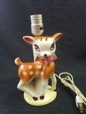 Vintage Ceramic Cute Kitsch Doe Eyed Fawn Deer Doe Lamp