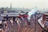 PHOTO  VIEW OF EDINBURGH RAILWAY STATION 1970S FROM CASTLE LNER LOCO 4472 LEAVIN