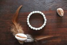 Lovely Handmade White Glass Beads & Silver Crystal Beads Stretch Beaded Bracelet