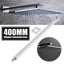 "16"" 40cm Stainless Steel Square Rainfall Shower Head Extension Arm Chrome"