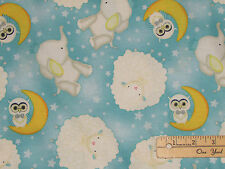 I Love You to the Moon & Back Fabric Blue Owl Allover by the 1/2 Yard  #82458