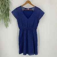 J.Crew Tea Dress Womens Size XS Blue White Fit & Flare Polka Dot V Neck Pockets