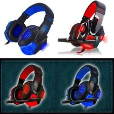 3.5mm Gaming Headset Mic LED Headphones Stereo Surround for PC Red