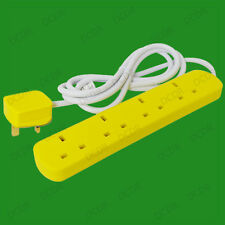 2m, Yellow Coloured 4 Way Extension Socket Lead, 13A UK Mains Outlet, Lemon Zest