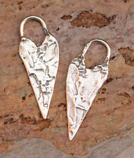 Artisan Long Heart Charms in Sterling Silver, H-16