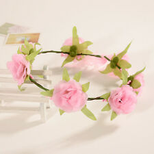 Pink Boho Floral Flower Womens Bride Hairband Head Band Wedding Party Garland