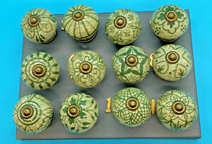 Ceramic Green Drawer Knobs with a Vintage Charm L 6 x W 4cm Buy 2 or More 15%Off