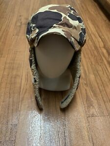 Vintage Duck Camo Sherpa Ear Flap Trapper Hat COLUMBIA  XL Made in USA EUC