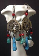 Brass and Turquoise Asian Eastern Inspired Dangle Earrings Boho Hippie