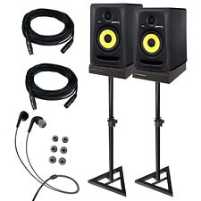 "KRK RP5G3 ROKIT 5 G3 5"" Studio Monitor Speaker Pair + Stands + Cables + Pads"