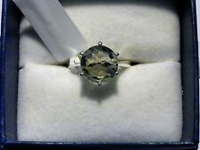 """Simply Solitaire"" Lt Green Amethyst ring(3.35 ct) in 925 Sterling Silver size 5"