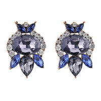 1Pair Elegant Women Faux Sapphire Blue Crystal Earrings Ear Stud Fashion Jewelry