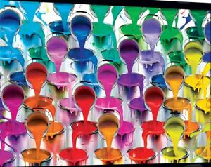 Jigsaw Puzzle Colorful Montage of buckets Paint the World 550 pieces NEW