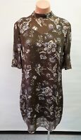 💜 WITCHERY 3/4 Sleeve Tunic Dress Brown Print Size 8 Buy7=FreePost L813