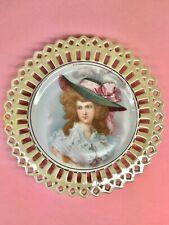 Vintage 1890's - Limoges France Portrait Cabinet Plate - E. Furlaud