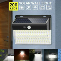 206LED Solar Power PIR Motion Sensor Wall Light Outdoor Garden Lamp Waterproof Z