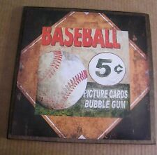 13x13 BASEBALL Bubble Gum Picture Card collector boy bedroom decor wood sign