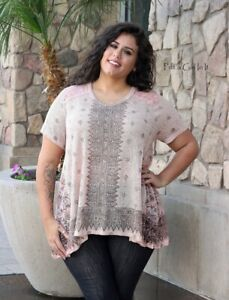 VOCAL PLUS SIZE Womens CRYSTAL PEACH SUBLIMATION LACE TUNIC SHIRT 1X 2X 3X USA