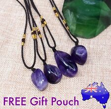 Genuine Amethyst Crystal Quartz Natural Stone Rock Chakra Pendant Necklace Gift