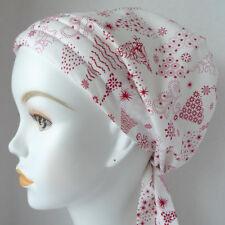 Chemo Cancer Hat Alopecia Hair Loss Cotton Scarf Turban Head Wrap Holiday Trees