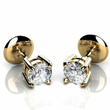 0.25 Carat Round Diamond Claw Set Screw Back Stud Earring in Yellow Gold