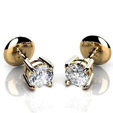 0.25 KT Diamante Tondo Artiglio Vite Posteriore Orecchini in oro giallo