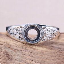 Sterling Silver Open Cuff Bangle Mount Bracelet Setting Blank 18mm Round Cab Gem