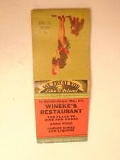 Early match book cover: Wineke's Restaurant, Reisterstown, MD
