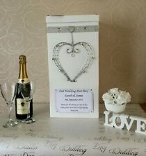 Personalised Wedding Card Post Box Diamantes Bling Silver colour heart crystals