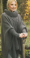 Womans Aran Cable Poncho  Roll Neck & Inset Cuffs - One Size -  Knitting Pattern