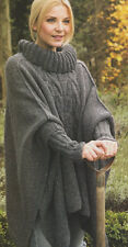 WOMANS ARAN Cavo Poncho Roll Neck & Polsini INSET-Taglia unica-knitting pattern